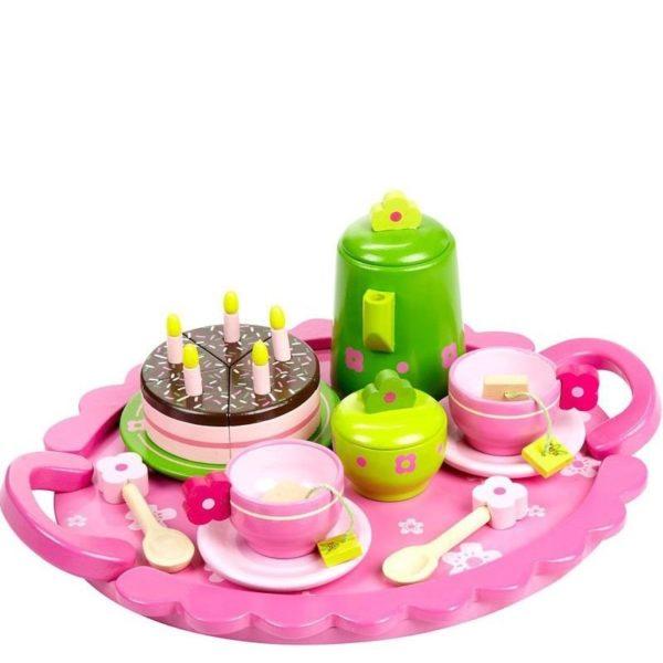 Детски дървен чаен сервиз комплект от 27 части Acool Toy ACT68