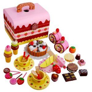Детски дървен чаен сервиз тортичка 59 части Acool Toy ACT69