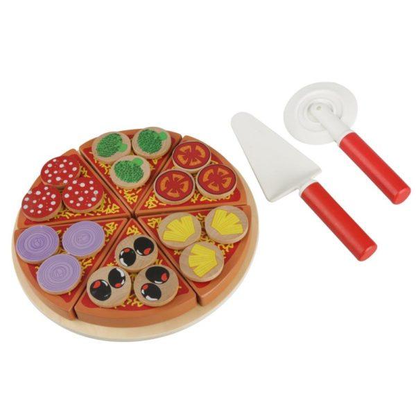 Детски комплект дървена пица с аксесоари Acool Toy ACT134