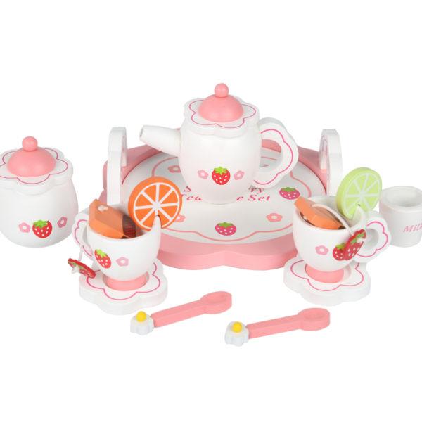 Детски комплект дървен чаен сервиз с прибори Acool Toy ACT130