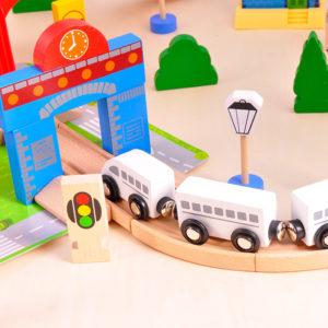 """Детско дървено влакче ACT138 от 80 части """"Моят град"""" Acool Toy"""