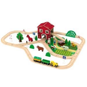 Детско дървено влакче с релси и ферма Acool Toy ACT86