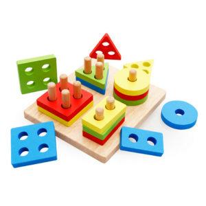 Дървена играчка за нанизване на геометрични форми Acool Toy ACT26
