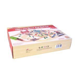 Дървено влакче с комплект от релси и 100 елемента Acool Toy ACT88