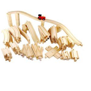 Дървено влакче с релси комплeкт 62 части Acool Toy ACT77