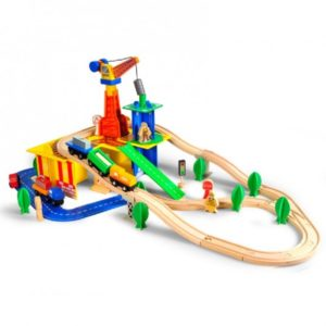 Дървено детско влакче с релси композиция Acool Toy ACT80