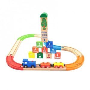 Дървено детско влакче с релси 29 части Acool Toy ACT75