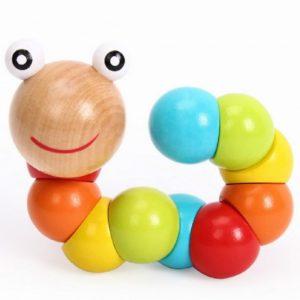 Дървено детско червейче за игра с въженце Acool Toy ACT02