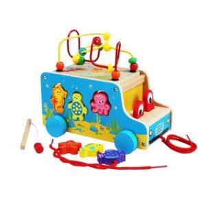 Дървен детски автобус с активности и морски животни Acool Toy ACT11