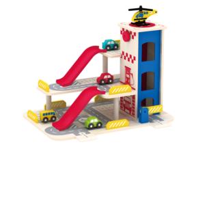 Дървен детски гараж на три нива с асансьор Acool Toy ACT87