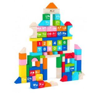 Дървен детски конструктор със 100 елемента Acool Toy ACT23