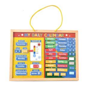 Дървен детски магнитен календар с плочки Acool Toy ACT100