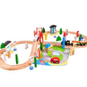 """Детско дървено влакче от 80 части """"Моят град"""" Acool Toy ACT138"""