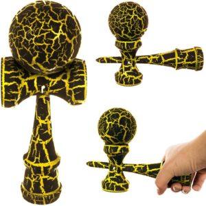 Детска дървена игра за сръчност Кендама - Черно и златисто KRU13100 1 (1)