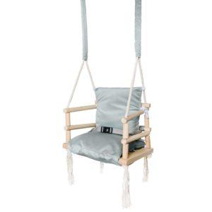 Детска дървена люлка с мека седалка - Сив цвят KRU8335 1 (1)