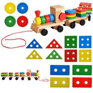 Детско дървено влакче за сортиране KRU8243 (1)