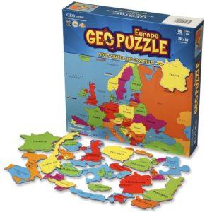GeoPuzzle Европа - бордови семеен пъзел за подреждане