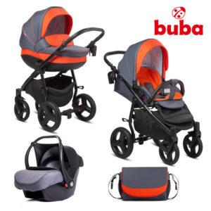 Бебешка количка 3в1 Buba Bella 713 комплект - оранжева