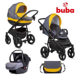 Бебешка количка 3в1 Buba Bella 716 комплект - Жълта