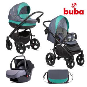Бебешка количка 3в1 Buba Bella 755 - Синьо-зелено