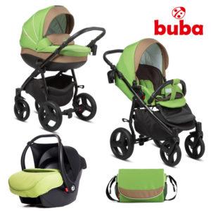Бебешка количка 3в1 Buba Bella 757 комплект - Зелена