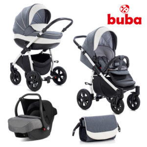 Бебешка количка 3в1 Buba Forester 595 комплект - Сива