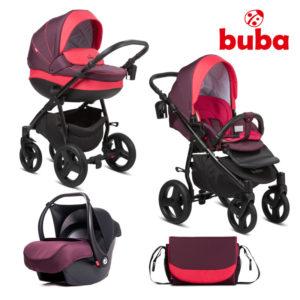 Бебешка количка 3 в 1 Buba Bella 706 комплект - Бордо