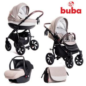 Бебешка количка Buba Estilo 919, 3в1 - Светлосива