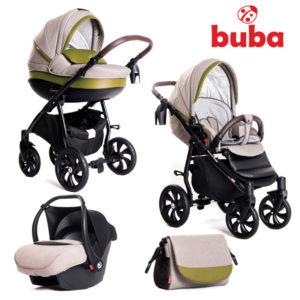 Бебешка количка Buba Estilo 924, 3в1 комплект - Зелена