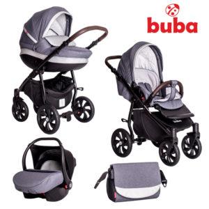 Бебешка количка Buba Estilo 930, 3в1 - Тъмносива