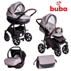Бебешка количка Buba Estilo 932, 3в1 - Черна Светлосива