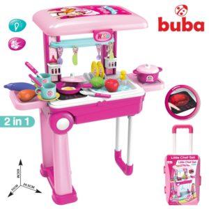 Голяма детска кухня Buba Little Chef с куфар - Розова