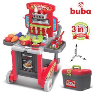 Голяма детска кухня Buba Little Chef с куфар - Червена