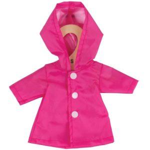 Дреха за кукла с дължина 25 см - Розов дъждобран Bigjigs MTBJD535