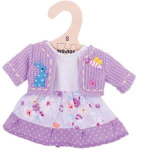 Дрехи за кукла 25 см - Лилава рокля с жилетка Bigjigs MTBJD503