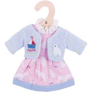Дрехи за кукла 25 см - Розова рокля с жилетка Bigjigs MTBJD504