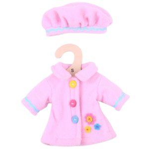 Дрехи за кукла 25 см - Розово палто с шапка Bigjigs MTBJD528