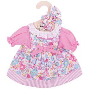 Дрехи за кукла 25 см - Цветна рокля с аксесоари за коса Bigjigs MTBJD501