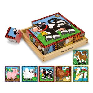 Дървени кубчета за подреждане - Ферма - 6 пъзела Melissa & Doug MT10775