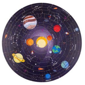 Дървен кръгъл пъзел - Слънчевата система Bigjigs MT33004