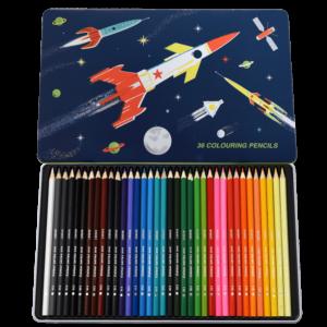 Комплект цветни моливи за деца - 36 броя Космическа ера Rex London MT29276_1