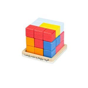 Логически дървен пъзел за подреждане - Цветен куб Bigjigs MT33020-1