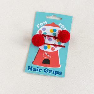 Фибички за коса с помпони - Червени Rex London MT29204