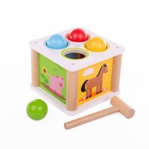 Детска дървена игра с чукче и топчета - Ферма Bigjigs MTBB551