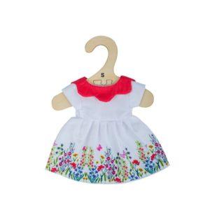 Дреха за кукла 25 см - Бяла рокля с цветя и червена яка Bigjigs MTBJD542