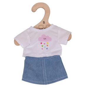 Комплект дрехи за кукла 25 см - Бяла тениска и дънкова пола Bigjigs MTBJD530