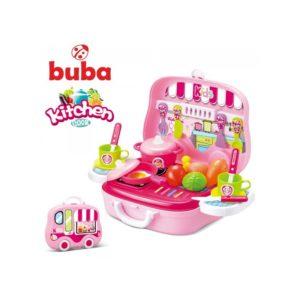 Малка детска кухня за игра в куфар Buba - Розова